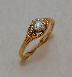 Antique Art Deco 10K Rose Gold 1/3 Carat Mine Cut Diamond Engagement Ring Church & Co.
