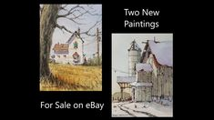 """Original Mini ACEO """"Laundry is Done"""" Line and wash watercolor Original Mini ACEO """"Rural Highrise"""" Line and wash watercolor Link: http:/. Peter Sheeler, Watercolour Tutorials, Sale On, Paintings For Sale, Watercolors, Auction, Cook, Youtube, Recipes"""