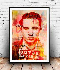 Mickey Cohen Pop art Collage Photo mafia chicago por SoulArtCorner