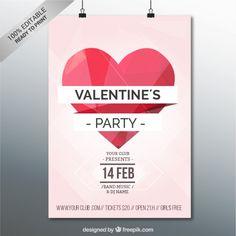 Plantilla de cartel de fiesta de San Valentín. Vector gratis. Valentine´s Party.