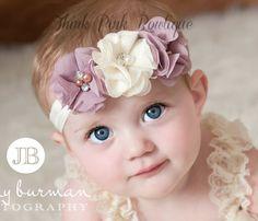 SALE! Baby Headband, Ivory Headband, baby girl headband,Newborn Headband, shabby chic flower headband, Baby Headbands,Baptism Headband. on Etsy, $6.95