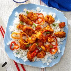 Recipe: General Tso's Chicken with Rice & Shishito Peppers - Blue Apron Tso Chicken, Tandoori Chicken, Home Recipes, Healthy Recipes, Healthy Desserts, Healthy Food, Yummy Food, Jasmine Rice Recipes, Date Night Recipes