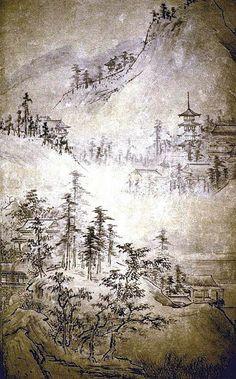Landscape of the Four Seasons, Muromachi period (1392–1573), early 16th century Kangaku Shinso (Soami) (Japanese, died 1525)