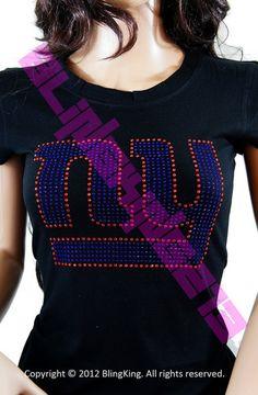 New York NY New York Giants Women's Jersey Shirt Bling Rhinestones | eBay