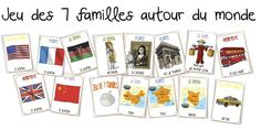 The game of 7 families around the world - Bout de gomme: - All Diseases French Language Lessons, Spanish Lessons, World Language Classroom, Alternative Education, French Kids, Teachers Aide, French Classroom, Kids Around The World, World Crafts