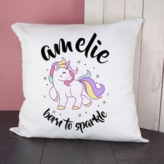 Personalised Unicorn Born To Sparkle Cushion Cover A wonderful gift for a you or your little one, this personalised unicorn born to sparkle cushion cover is the perfect gift to display in a nursery or bedroom. The adorable cushion cover is made from soft poly-cotton will retain its shape as well as comfort for years to come.