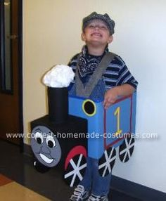 David in his Thomas the Tank Engine Costume: My son loves Thomas. Last year he was Thomas and this coming year he wants to be James.   The Thomas the Tank Engine costume is made from cardboard boxes,