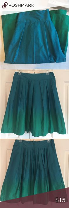 """H&M Ombré Skirt Blue and green Ombré skirt from H&M. A-Line. Back zip and button closure. Pleated throughout. Approx 15"""" waist. 23"""" waist to hem. 100% Cotton shell and lining. Fully lined with blue cotton fabric. New with tags! H&M Skirts Midi"""