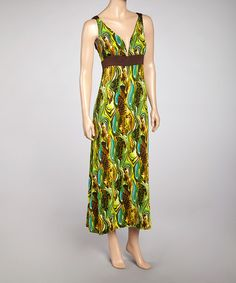 Take a look at this Green Abstract V-Neck Maxi Dress - Women by 24/7 on #zulily today!