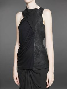 Rick Owens draped leather panel top. women's fashion and style.