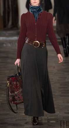 Ralph Lauren - Fall Winter 2013/2014 - professional, classic, feminine - long grey skirt, maroon sweater, belted