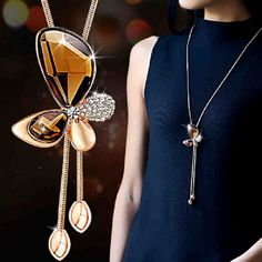 Fashion Crystal Butterfly Necklace Tassel Style