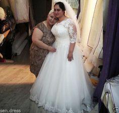 Plus Size Half Sleeves Wedding Dress Bridal Gown Custom Size 16 18 20 22 24 26 +