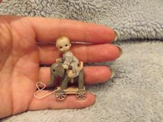 Miniature handmade MINI TINY TOY BABY BOY & ELEPHANT PULL TOY ooak DOLLHOUSE