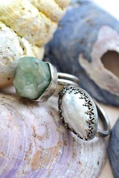 rough cut aquamarine and keshi pearl rings in recycled silver
