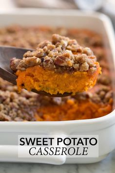 The Best Sweet Potato Casserole recipe! This version has just the right amount of sweetness, an irresistible buttery flavor, and a crisp cinnamon pecan crumble on top. It's the perfect autumn side dis Sweet Potato Crisps, Best Sweet Potato Casserole, Potatoe Casserole Recipes, Sweet Potato Recipes, Baked Potato, Best Thanksgiving Recipes, Thanksgiving Side Dishes, Fall Recipes, Holiday Recipes