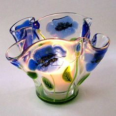 RESERVED listing for leeesy  Fused Glass Candle by CDChilds