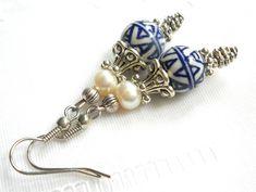Delft dangle earrings blue earrings Delft blue and white earrings Delft blue earrings delft style blue and white jewelry delft blue jewelry by Minouc on Etsy https://www.etsy.com/listing/521616902/delft-dangle-earrings-blue-earrings