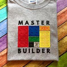 Lego Master Builder Applique Embroidery Design - Designed by Geeks Applique Embroidery Designs, Machine Embroidery Applique, Embroidery Ideas, Lego Shirts, Lego Birthday Party, Leo Birthday, Birthday Shirts, Birthday Ideas, The Design Files