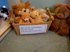 """Have a basket of """"reading bears"""" in the book corner to support children with rea… - Deutschunterricht Ideen Eyfs Activities, Nursery Activities, Reading Activities, Year 1 Classroom, Preschool Classroom, Kindergarten, School Displays, Classroom Displays, Book Area"""