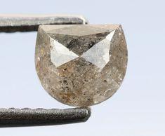 0.84 Ct,4.9 X 5.5 X 3.2 MM Moon Shape Grey Color Natural Loose Beautiful Diamond,Conflictfree Diamond,Diamond Rings,Rose Cut Diamond,R244 by RusticDiamondWorld on Etsy