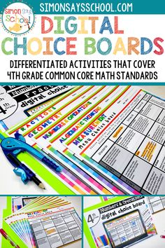 This 4th grade common core math resource covers all common core math standards in a set of fun math activities. It covers important 4th grade math skills like measurement, geometry and algebraic thinking. They are a great math resource for addressing common core standards while giving students choice for the math project that they complete. #4thgrademath #4thgrademathproject #mathactivities