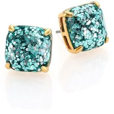 Kate Spade New York Glitter Square Stud Earrings/Blue ($38) ❤ liked on Polyvore featuring jewelry, earrings, apparel & accessories, blue stud earrings, blue jewelry, gold plated jewelry, square stud earrings and kate spade