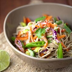 Cold Asian soba noodle salad with soy dressing is a flavor packed dish. Bold soy citrus flavors infuse into crunchy vegetables and nutty buckwheat noodles.