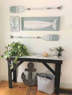 set rustic beach house decor Wood Nautical Decor Oar decor Whale decor Nautical decor Nautical nursery by WoodstockRustic on Etsy Oar Decor, Coastal Decor, Decor Room, Rustic Beach Decor, Coastal Living, Beach Chic Decor, Coastal Colors, Coastal Homes, Bright Colors