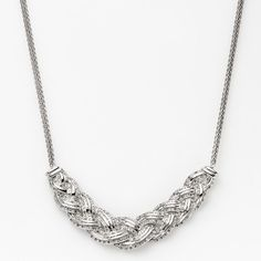 Silver Plated 1-ct. T.W. Diamond Braided Necklace, Women's, White
