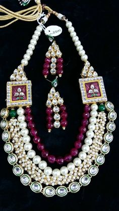 Beautiful Indian kundan necklace sets with Pearls, Free Shipping Worldwide by Shopeastwest on Etsy