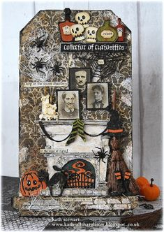Inside The Haunted House - Etcetera Tag decorated with Fireside, Frightful Things and Regions Beyond Thinlits from Tim Holtz/Sizzix Chapter 3 release Halloween Tags, Halloween Quotes, Halloween 2019, Halloween Crafts, Halloween Decorations, Halloween Mini Albums, Halloween Sewing, Halloween Scrapbook, Halloween Prop