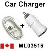 White Mini Car Charger USB Adapter for Mp3 Mp4 iPhone 3G 3GS + USB Cable Price= $22.50