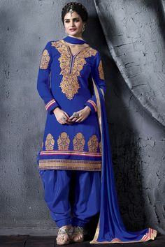 Persian Blue Embroidered Party and Festival Salwar Kameez Sku Code:94-4537SL826670 $ 79.00