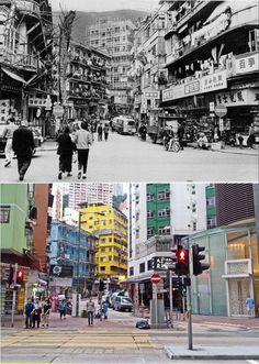 Hong kong, Wan Chai Stone Nullah Lane then and now