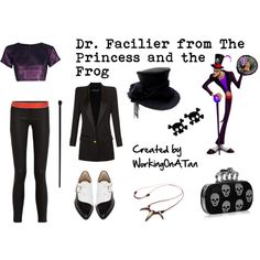 Dr. Facilier from The Princess and the Frog by workingonatan on Polyvore featuring Mode, Boohoo, Balmain, Bionda Castana, CO, Punky Pins, MM6 Maison Margiela, Alexander McQueen and Disney