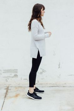 Discover this look wearing Off White Lou & Grey Sweaters, Black Lou & Grey Jeans, Black Adidas Sneakers - An Honest Outfit by themoptop styled for Casual, Everyday Adidas Boost, Adidas Ultra Boost Women, Fashion Models, Teen Fashion, Fashion Trends, Ad Fashion, Ultraboost Outfit Women, Adidas Superstar, Caviar