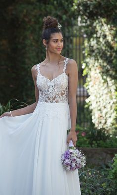 Sincerity Bridal - Style Illusion Bodice A-Line Gown with Delicate Chiffon Skirt Sincerity Bridal, Beach Gowns, Fairytale Weddings, Elegant Bride, Bridesmaid Dresses, Wedding Dresses, Wedding Shoes, Dream Wedding, A Line Gown