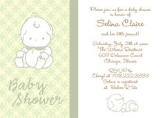 "Sitting Up Green, Baby Shower Invitation.  6 3/4"" x 4 7/8""."