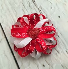 Valentine's Day Hairbow, Heart Hairbow, Valentine Hair Clip, Red Hair Bow, Baby Bow, Girl Hairbow, Adult Hairbow by SewCuteBoutiqueBow on Etsy