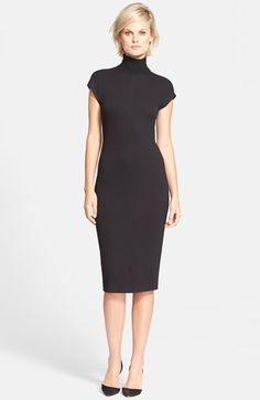 Free shipping and returns on Theory 'Nemor' Turtleneck Sheath Dress at Nordstrom.com. A ribbed turtleneck tops an elegant cap-sleeve sheath dress tailored in a lithe, figure-hugging silhouette from dense stretch jersey.