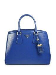 Prada Saffiano Parabole Tote in Blue