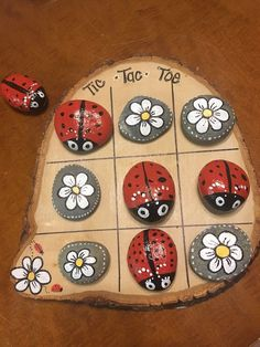 Woodworking Crafts Rotary Tool Ladybug and daisy rock tic-tac-toe. Ladybug and daisy rock tic-tac-toe.Woodworking Crafts Rotary Tool Ladybug and daisy rock tic-tac-toe. Ladybug and daisy rock tic-tac-toe. Kids Crafts, Summer Crafts, Crafts To Make, Craft Projects, Arts And Crafts, Kids Nature Crafts, Craft Ideas, Lathe Projects, Garden Projects