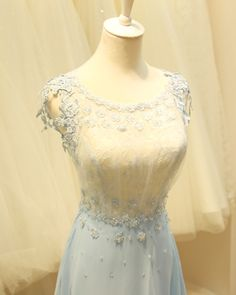 2015 round neck cap sleeves blue lace chiffon prom dress for teens, elegant ball gown, modest evening dress Handmade itemMaterials: Chiffon,satin,lace,tulleMade to orderColor: refer to imageProcessing time:15-25 business daysDelivery date:5-10 business days