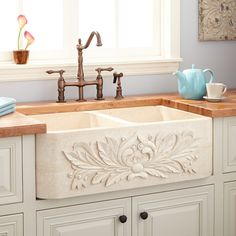 "36"" Ivy Polished Marble Double-Bowl Farmhouse Sink - Cream Egyptian"