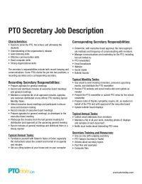 Pto Secretary Job Description School Pto Pto Pto President