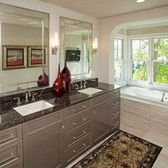bathroom remodel iinspiration (tub, surround & floor, high gloss cabinets, deep gray counter)