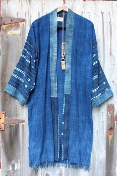 Diy Crafts - FabricWe,Indigo-Fabric:We used three beautiful vintage indigo mud . Shibori, Plus Size Lace Dress, Kimono Coat, Vintage Blanket, Chiffon Kimono, Kimono Fashion, Couture, Boro, My Style