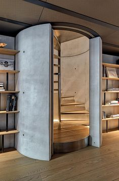 Former garage in Milan's Porta Volta renovated into a home for a sailing champion - Concrete Interiors - Escadas Modern House Design, Home Design, Home Interior Design, Interior Paint, Modern Staircase, Staircase Design, Spiral Staircases, Concrete Interiors, Architecture Art Design