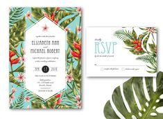 Printable Tropical Wedding Invitation DIY Printable Wedding